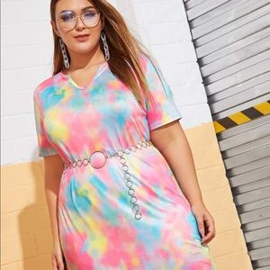 Beautiful tie and dye tee shirt mini dress